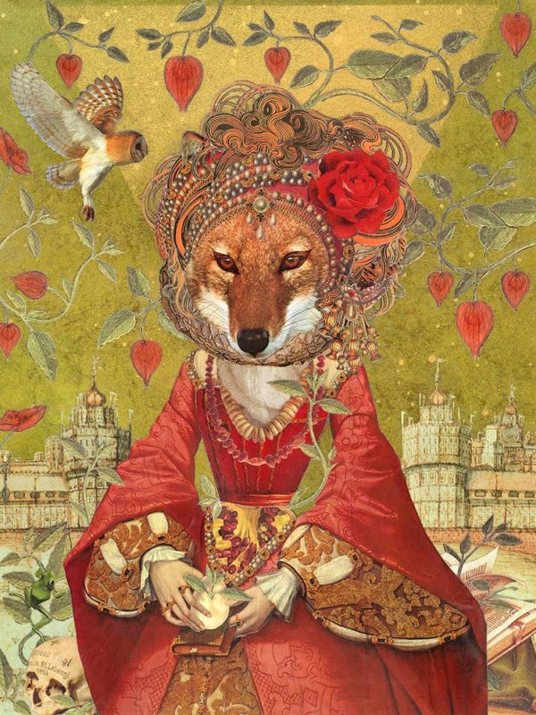 """Found Fables - Fox Maiden ~ mixed media on wood. 14 x 11"""""""